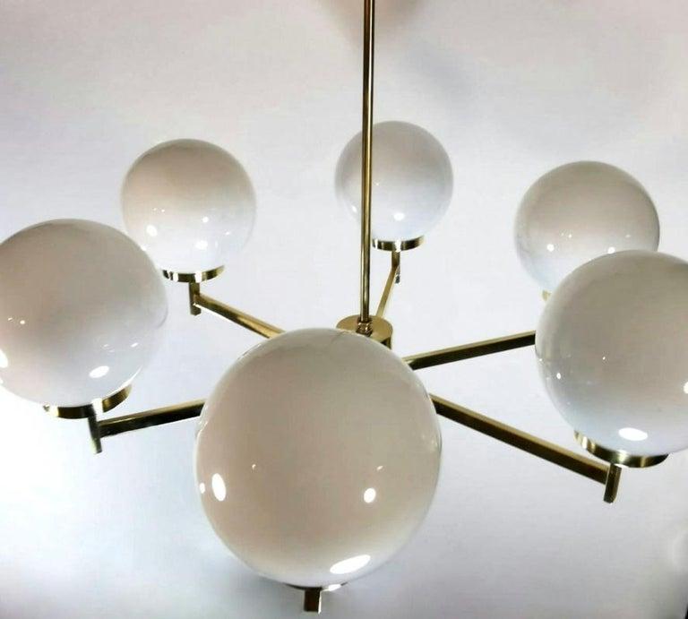 Stilnovo Italian Vintage Brass Chandelier, Opaline Glass Spheres For Sale 2