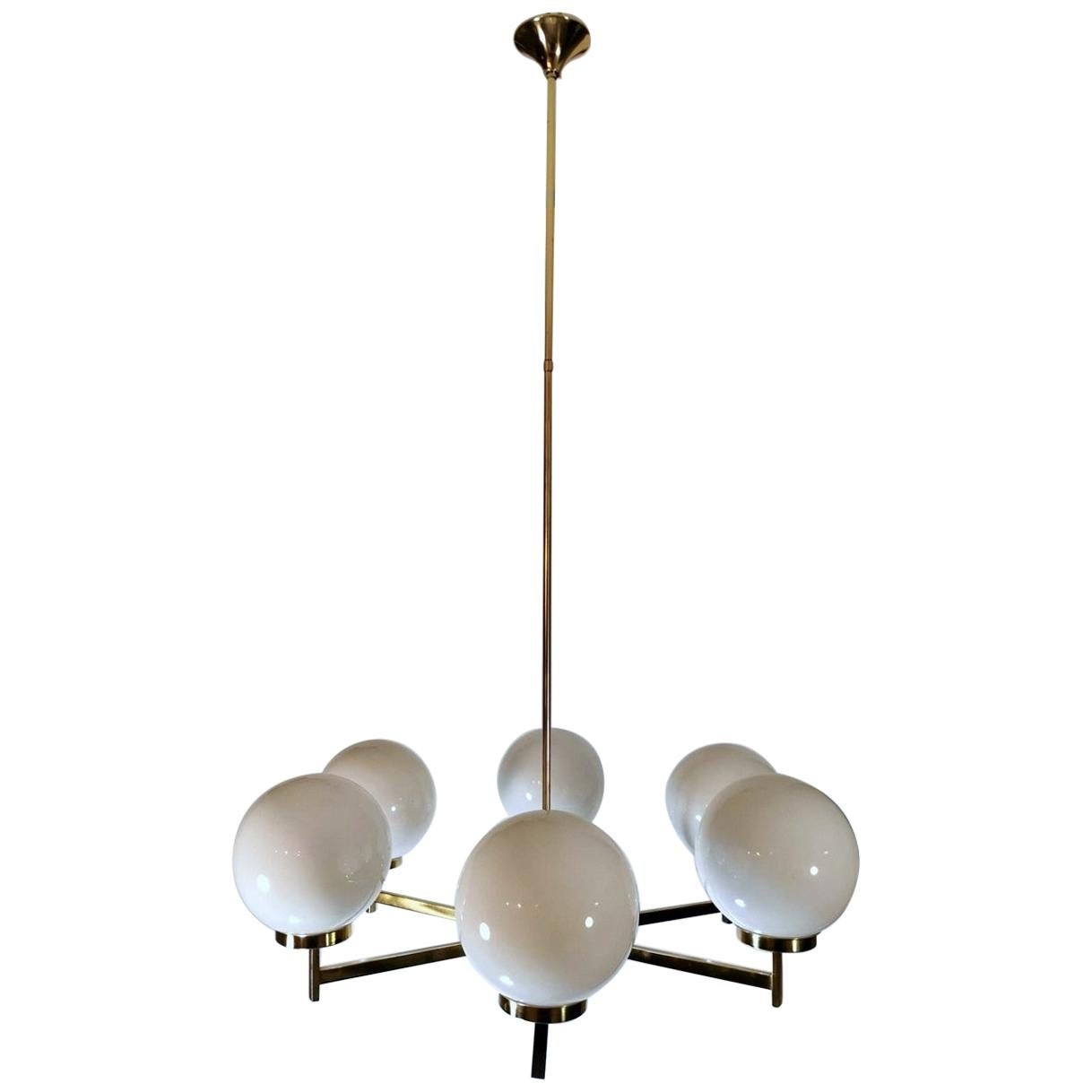 Stilnovo Italian Vintage Brass Chandelier, Opaline Glass Spheres