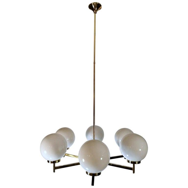 Stilnovo Italian Vintage Brass Chandelier, Opaline Glass Spheres For Sale