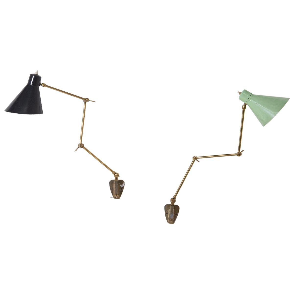 Stilnovo Italian Wall Lamp in Brass and Aluminium Green and Black, 1950s