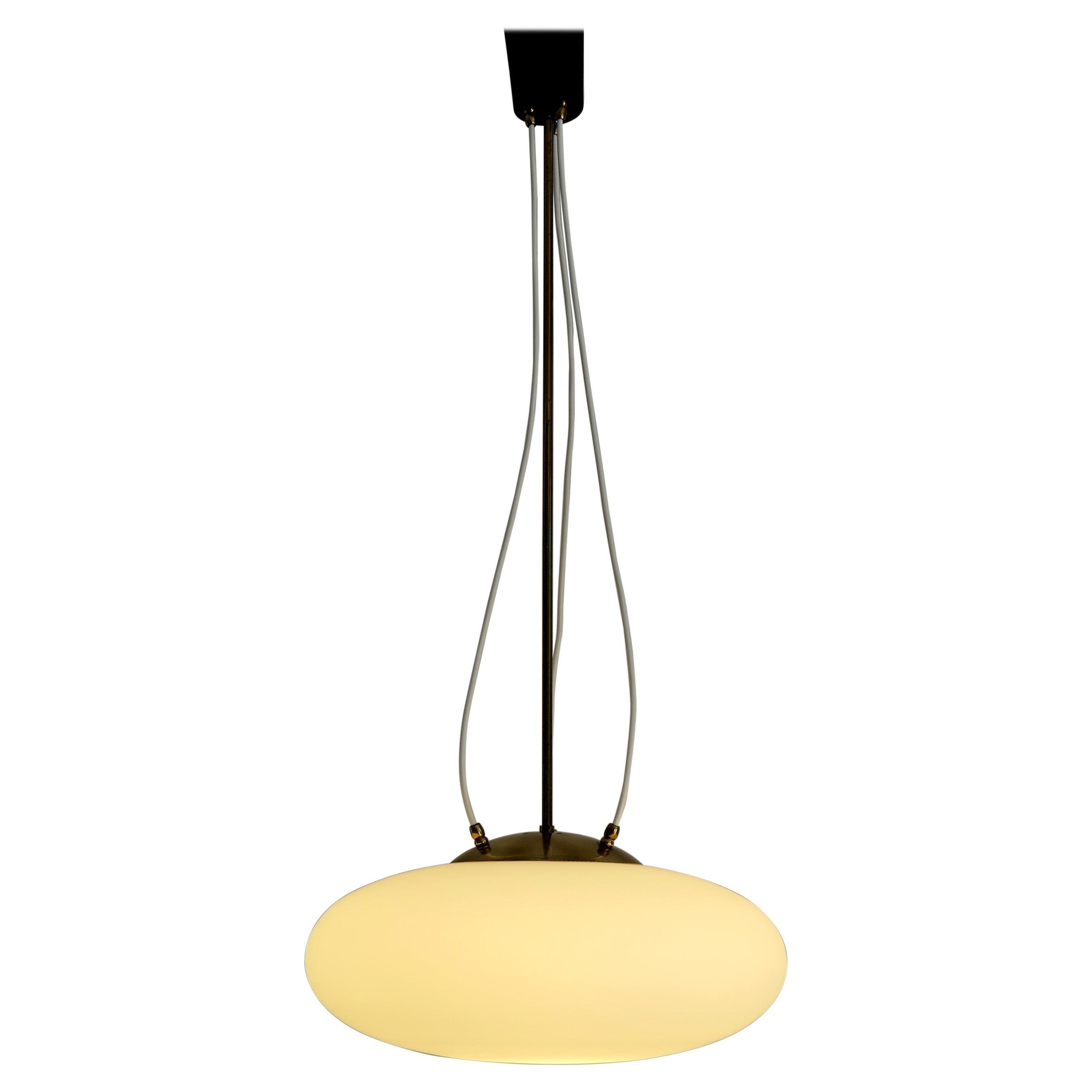 Stilnovo Italian White Glass and Brass Pendant Lamp, 1950s
