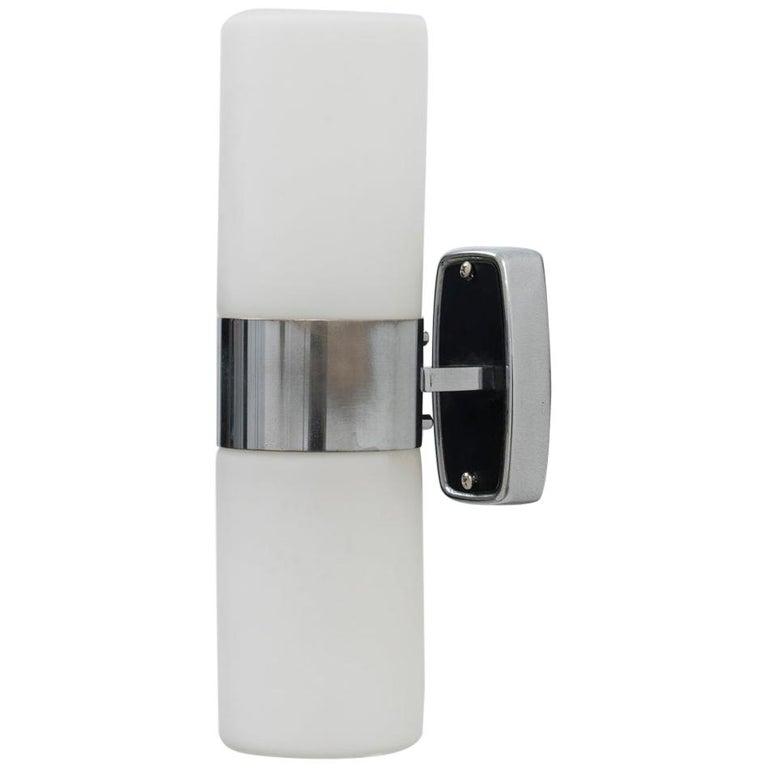 Stilnovo Labeled Mod. 2143 Midcentury Triplex Opal Glass Wall Light, 1950s For Sale