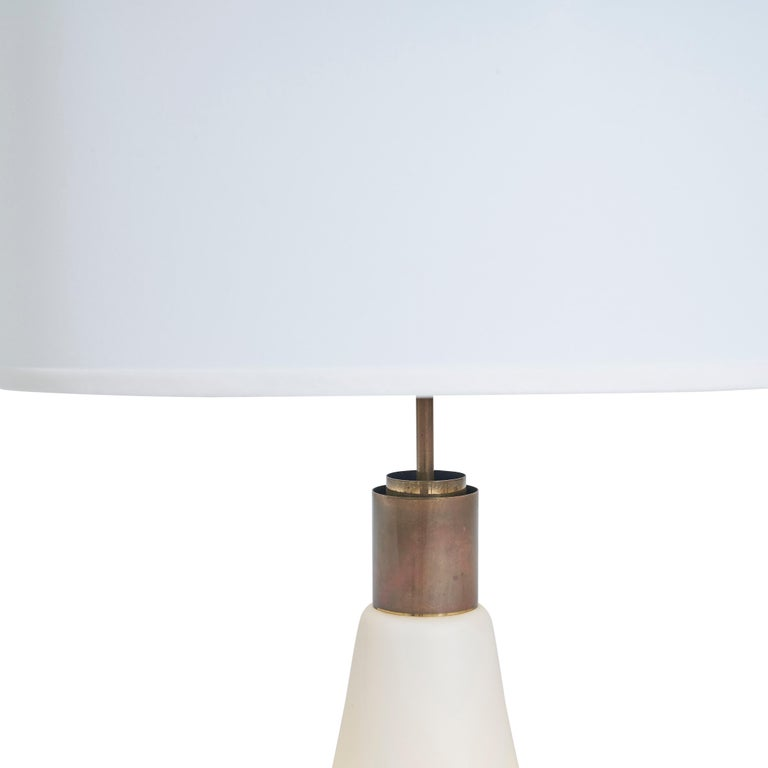 Italian Frosted Glass and Brass Lamp, circa 1950s For Sale 1