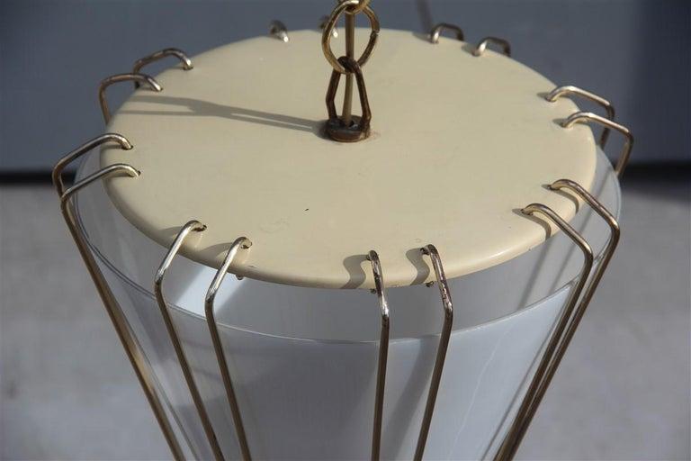 Mid-Century Modern Stilnovo Style Midcentury Lantern Italian Design Brass Gold 1950s Cone Form For Sale