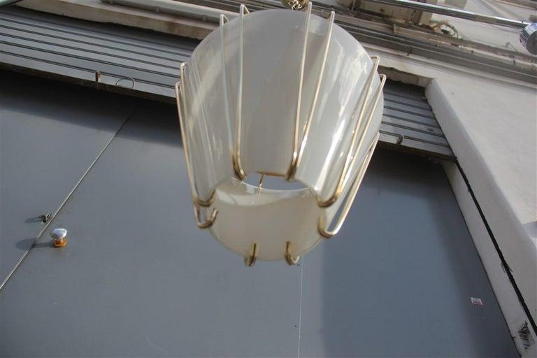 Stilnovo Style Midcentury Lantern Italian Design Brass Gold 1950s Cone Form In Good Condition For Sale In Palermo, Sicily