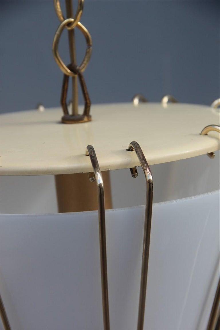 Mid-20th Century Stilnovo Style Midcentury Lantern Italian Design Brass Gold 1950s Cone Form For Sale