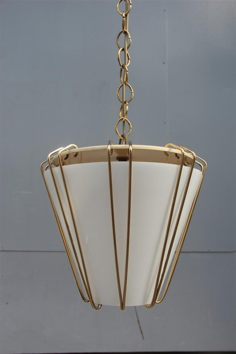 Stilnovo Style Midcentury Lantern Italian Design Brass Gold 1950s Cone Form For Sale 1