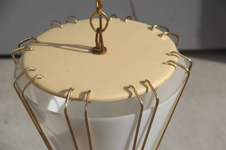 Stilnovo Style Midcentury Lantern Italian Design Brass Gold 1950s Cone Form For Sale 4