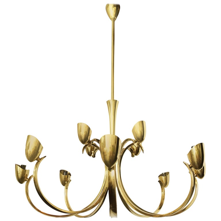 Italian Stilnovo Mid-Century Modern 12-Light Brass Chandelier & Blown Glass Shades Italy For Sale