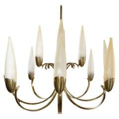 Stilnovo Mid-Century Modern 12-Light Brass Chandelier & Blown Glass Shades Italy