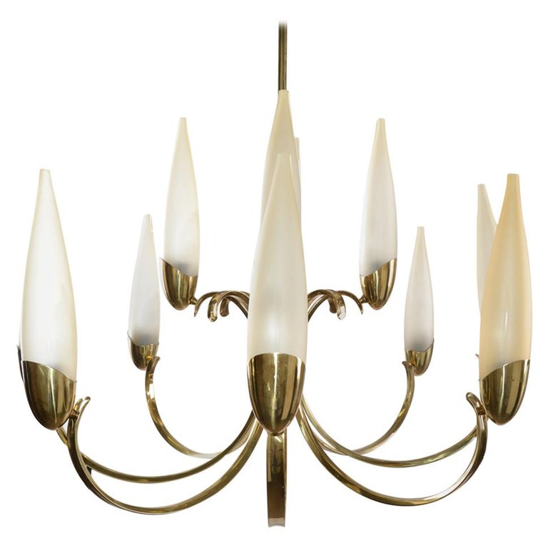 Stilnovo Mid-Century Modern 12-Light Brass Chandelier & Blown Glass Shades Italy For Sale