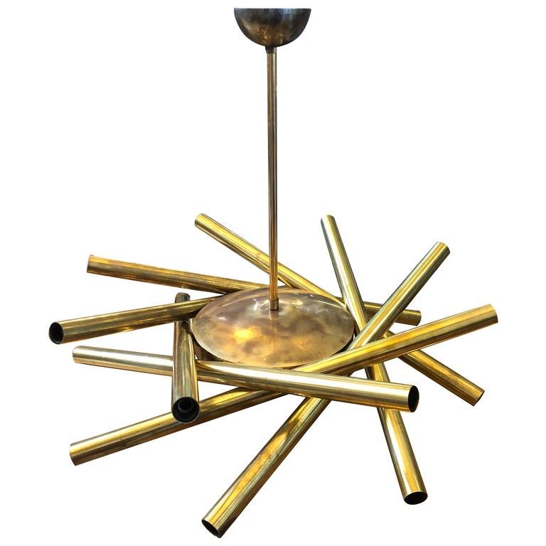 Stilnovo Mid-Century Modern Brass 16-Light Sputnik Chandelier, circa 1950 For Sale