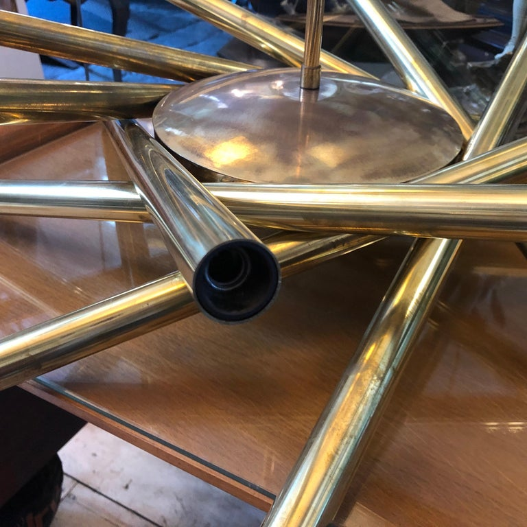 Italian Stilnovo Mid-Century Modern Brass 16-Light Sputnik Chandelier, circa 1950 For Sale