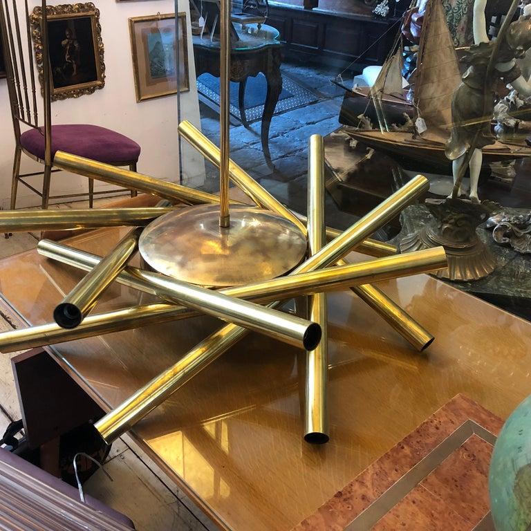 20th Century Stilnovo Mid-Century Modern Brass 16-Light Sputnik Chandelier, circa 1950 For Sale
