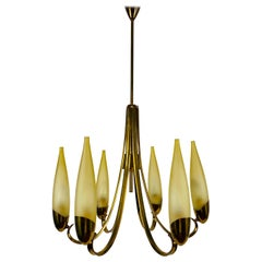 Mid-Century Modern Italian Brass and Glass Chandelier, 1960s