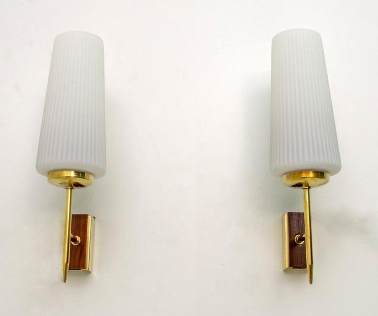 Mid-20th Century Stilnovo Mid-Century Modern Italian Brass and Opaline Glass Sconces, 1950s, Pair For Sale