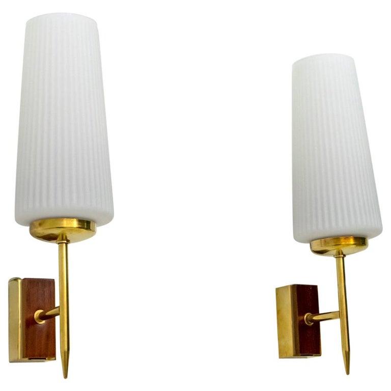 Stilnovo Mid-Century Modern Italian Brass and Opaline Glass Sconces, 1950s, Pair For Sale