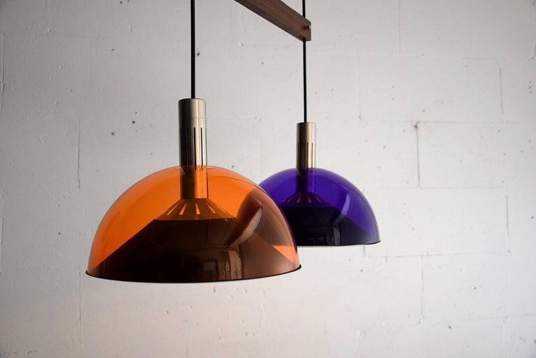 Mid-20th Century Stilnovo Mid-Century Modern Purple and Orange Ceiling Lamp For Sale