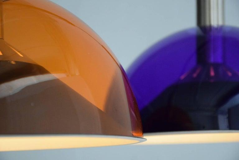 Stainless Steel Stilnovo Mid-Century Modern Purple and Orange Ceiling Lamp For Sale