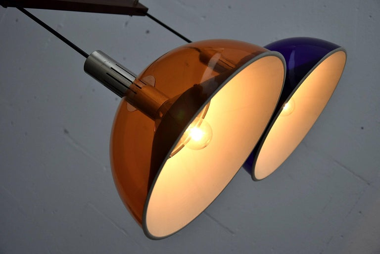 Stilnovo Mid-Century Modern Purple and Orange Ceiling Lamp For Sale 1