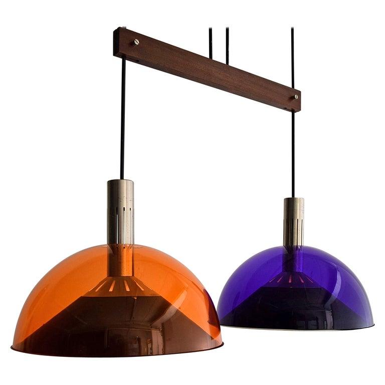 Stilnovo Mid-Century Modern Purple and Orange Ceiling Lamp For Sale