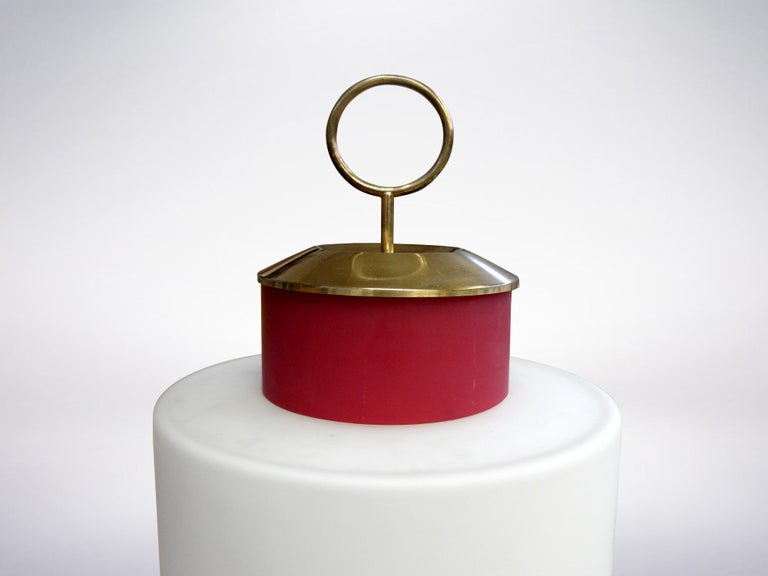 Italian Stilnovo, Mid-Century Modern Red Glass and Brass Table Lamp, 1950s For Sale