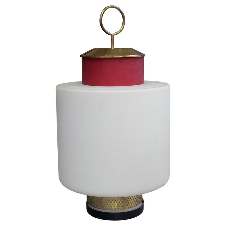 Stilnovo, Mid-Century Modern Red Glass and Brass Table Lamp, 1950s For Sale