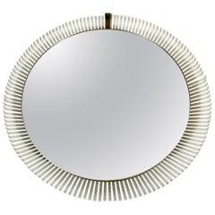 Stilnovo Midcentury Round Metal Illuminated Mirror, Italy, 1960s