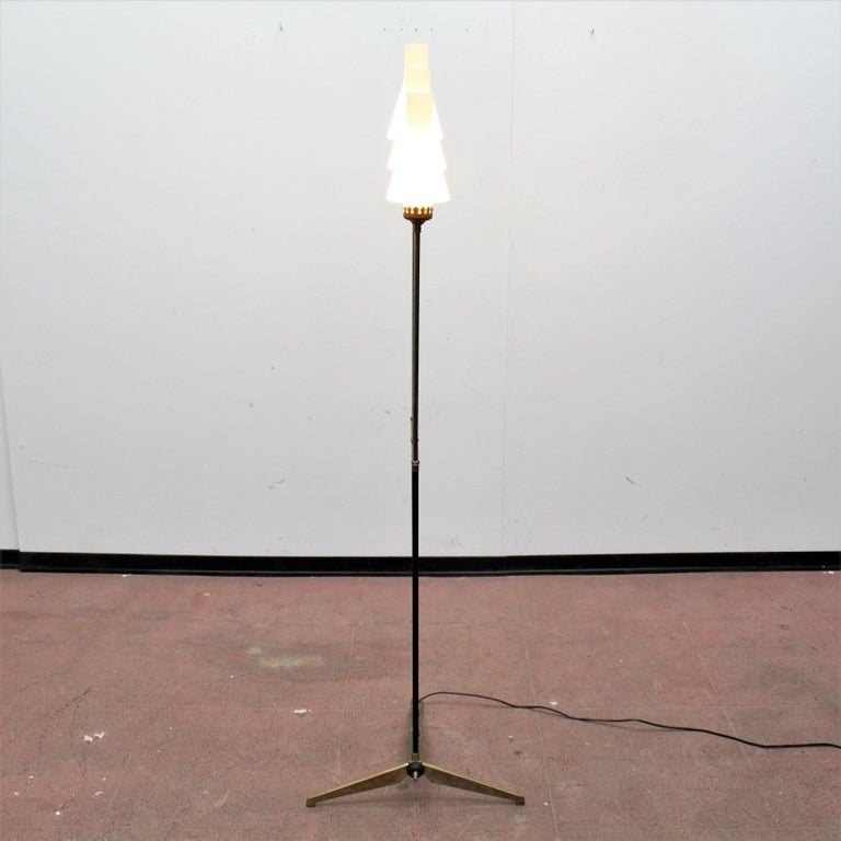 Stilnovo Midcentury White Opaline Glass and Brass Floor Lamp, 1960s, Italy For Sale 10