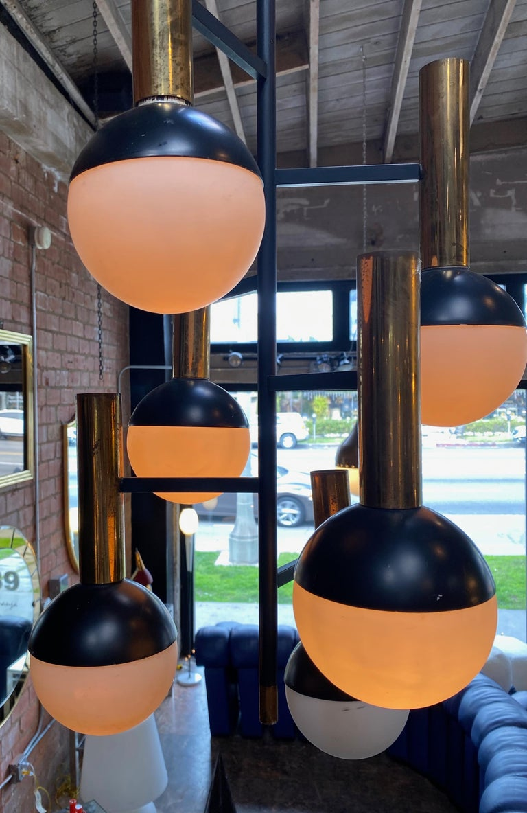 Stilnovo Midcentury Brass 5 Opaline Glass Chandelier, Italy, circa 1955 In Good Condition For Sale In Los Angeles, CA