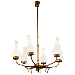 Arredoluce Attributed Midcentury Brass and Murano Glass Chandelier, Italy, 1958