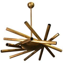 Stilnovo Midcentury Brass Italian Chandelier, 1950s