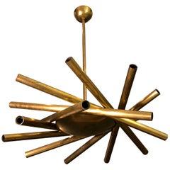 Stilnovo Midcentury Brass Italian Spiral Chandelier, 1950s