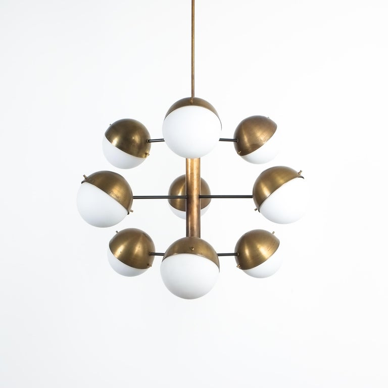 Stilnovo Midcentury Brass Opaline Glass Chandelier, Italy, circa 1950 For Sale 5