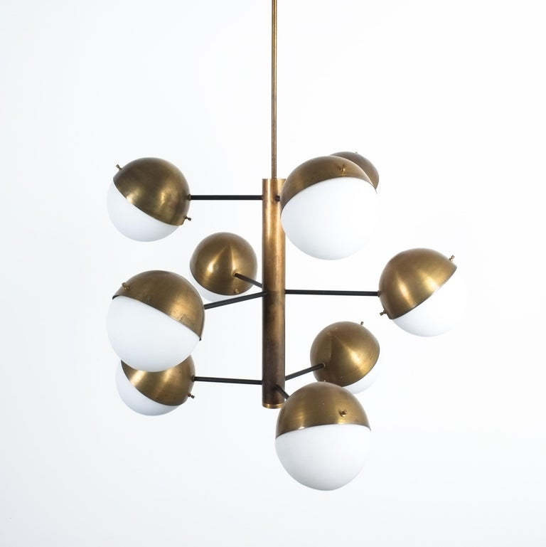 Stilnovo midcentury brass opaline glass chandelier, Italy