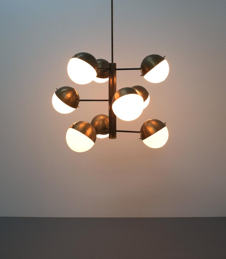 Italian Stilnovo Midcentury Brass Opaline Glass Chandelier, Italy, circa 1950 For Sale