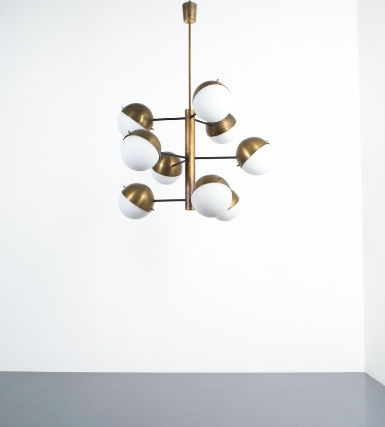 Mid-20th Century Stilnovo Midcentury Brass Opaline Glass Chandelier, Italy, circa 1950 For Sale