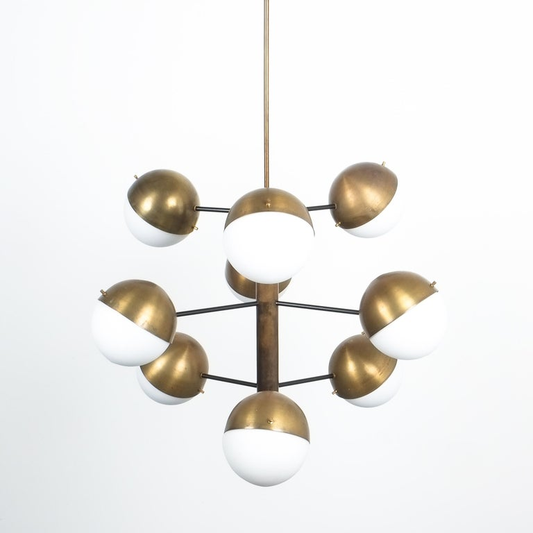 Stilnovo Midcentury Brass Opaline Glass Chandelier, Italy, circa 1950 For Sale 3