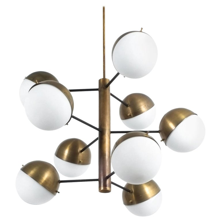Stilnovo Midcentury Brass Opaline Glass Chandelier, Italy, circa 1950 For Sale