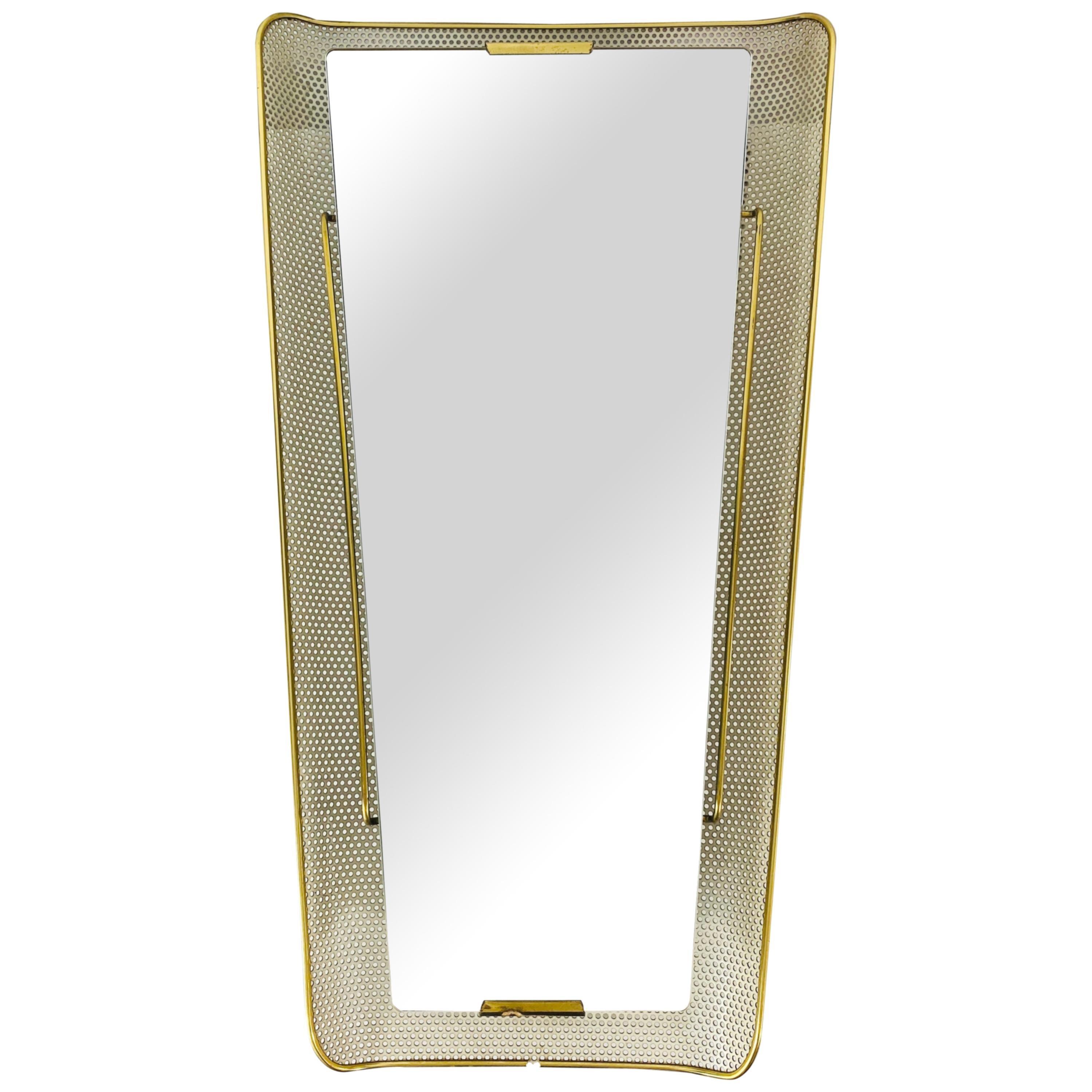Stilnovo Midcentury Metal Illuminated Mirror, Italy, 1960s