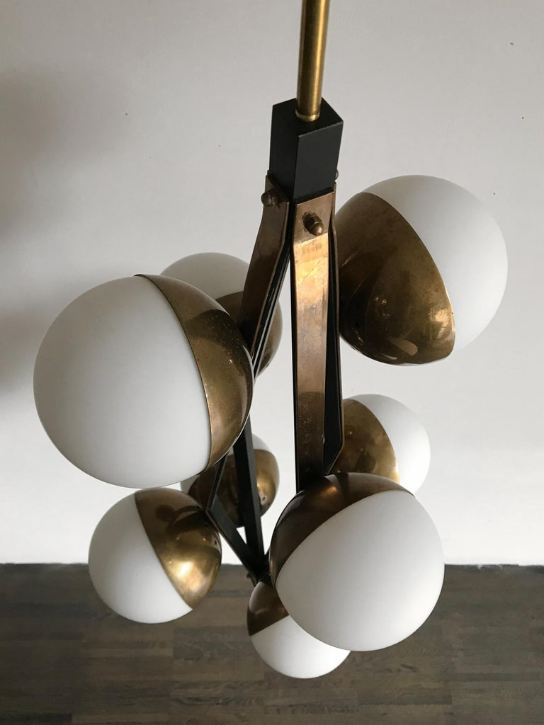 Stilnovo Midcentury Modern Design Italian Brass Glass Pendant Lamp, 1950s For Sale 9