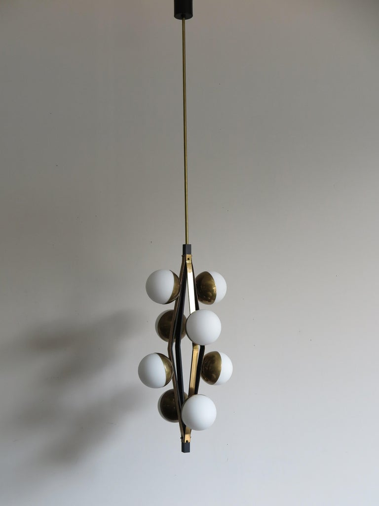 Mid-20th Century Stilnovo Midcentury Modern Design Italian Brass Glass Pendant Lamp, 1950s For Sale