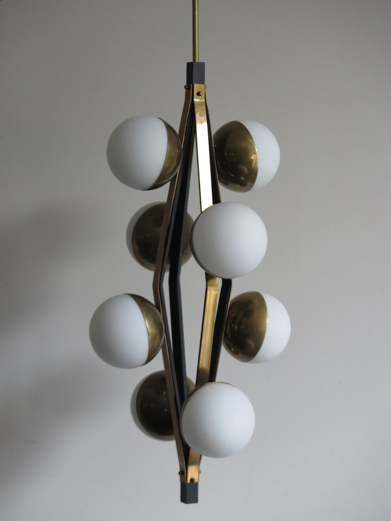 Stilnovo Midcentury Modern Design Italian Brass Glass Pendant Lamp, 1950s For Sale 1