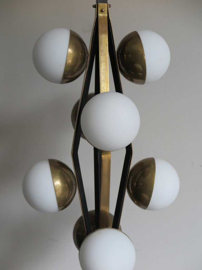 Stilnovo Midcentury Modern Design Italian Brass Glass Pendant Lamp, 1950s For Sale 2