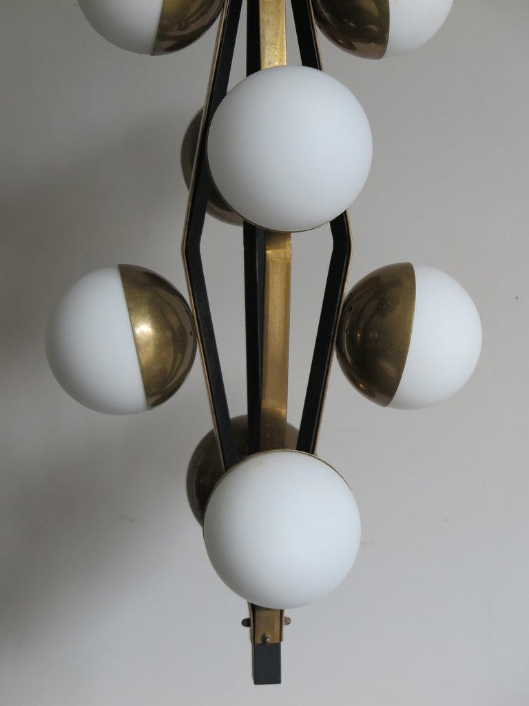 Stilnovo Midcentury Modern Design Italian Brass Glass Pendant Lamp, 1950s For Sale 3