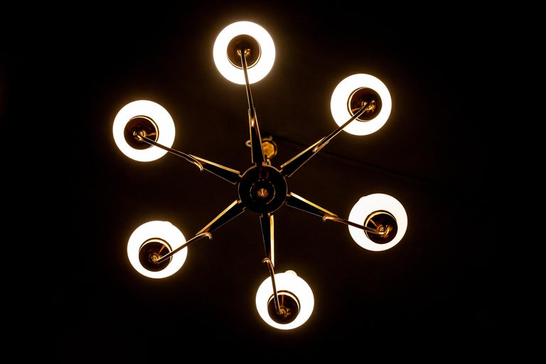 Italian Stilnovo Attributed Brass and Murano Glass Chandelier, Italy, 1960s For Sale