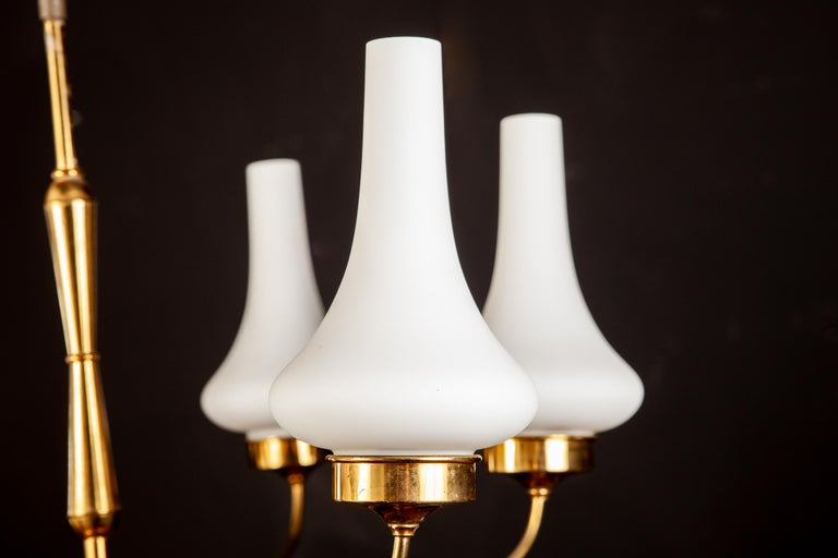 Mid-20th Century Stilnovo Attributed Brass and Murano Glass Chandelier, Italy, 1960s For Sale