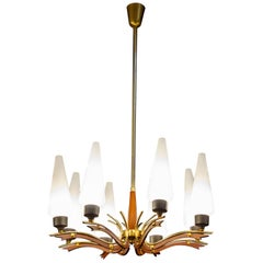 Stilnovo Attributed Midcentury Murano Glass Chandelier, Italy, circa 1958