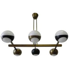Stilnovo Midcentury Six-Arm Brass Italian Chandelier, 1960