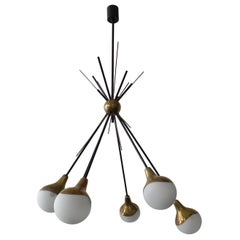 Stilnovo Midcentury Six-Arm Brass Italian Chandelier, 1960